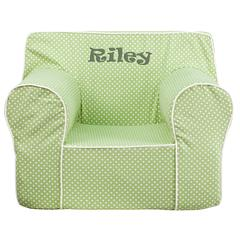 Personalized Oversized Green Dot Kids Chair with White Piping