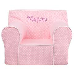 Personalized Oversized Light Pink Dot Kids Chair with White Piping