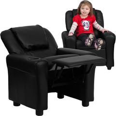 Contemporary Black Leather Kids Recliner with Cup Holder and Headrest