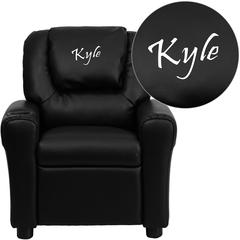 Personalized Black Leather Kids Recliner with Cup Holder and Headrest