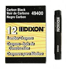 Dixon Lumber Crayon, Permanent, Carbon Black, Dozen