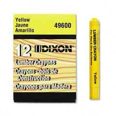 Lumber Crayon, Permanent, Yellow, Dozen