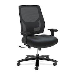 Crio High-Back Big And Tall Chair | Mesh Back | Adjustable Arms | Adjustable Lumbar | Black Leather