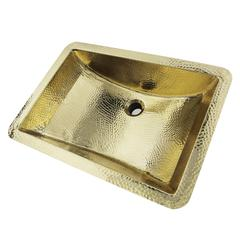 TRB-1914-OF - 21 Inch Hand Hammered Brass Rectangle Undermount Bathroom Sink with Overflow