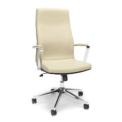 High Back Bonded Leather Manager Chair-Cream