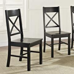 Walker Edison Black Wood Dining Chairs, Set of 2