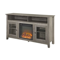 """58"""" Transitional Fireplace Glass Wood TV Stand - Grey Wash"""