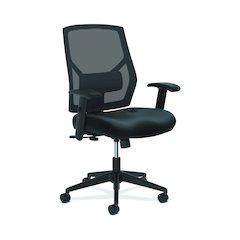 Crio High-Back Task Chair | Mesh Back | Adjustable Arms | Adjustable Lumbar | Black Leather