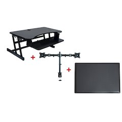 """DADR Height Adjustable Sit to Standing Desk Riser and Converterwith Dual Monitor Mount and Anti Fatigue Mat, 37"""", Black"""