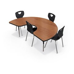 Activity Table - Kidney - Gray Nebula Top Surface - Black Edgeband