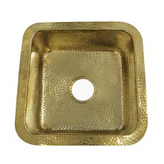 SQRB-7 16.625 Inch Hammered Brass Square Undermount Bar Sink