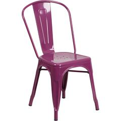 Purple Metal Indoor-Outdoor Stackable Chair