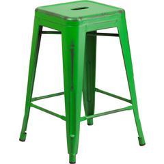 24 High Backless Distressed Green Metal Indoor Outdoor
