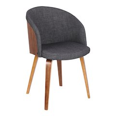 Armen Living Alpine Mid-Century Dining Chair in Charcoal Fabric with Walnut Wood