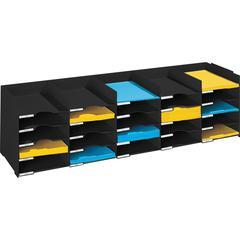 """PAPERFLOW 44 """" W. Stackable horizontal organiser .Black"""