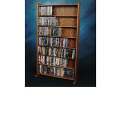 Wood Shed Solid Oak 7 Shelf Cabinet for DVD's, VHS Tapes, books and more