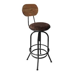 Adele Industrial Adjustable Barstool in Silver Brushed Gray with Brown Fabric Seat and Rustic Pine Back