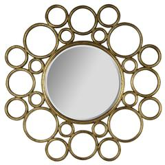 Celeste Mirror, Antique Gold Finish, Beveled Mirror