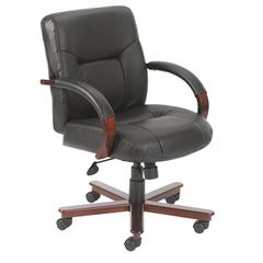 Boss Executive Leather Mid Back Chair W/ Mahogany Finished Wood W/ Knee Tilt