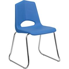 HERCULES Series 500 lb. Capacity Blue Plastic Sled Base Stack Chair with Chrome Frame
