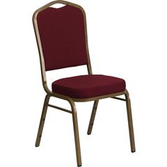 HERCULES Series Crown Back Stacking Banquet Chair with Burgundy Fabric and 2.5'' Thick Seat - Gold Frame