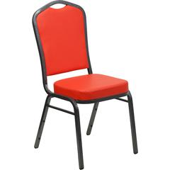 HERCULES Series Crown Back Stacking Banquet Chair with Red Vinyl and 2.5'' Thick Seat - Silver Vein Frame