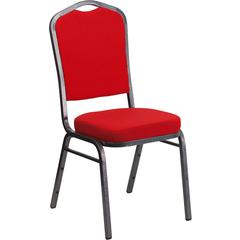 HERCULES Series Crown Back Stacking Banquet Chair with Red Fabric and 2.5'' Thick Seat - Silver Vein Frame
