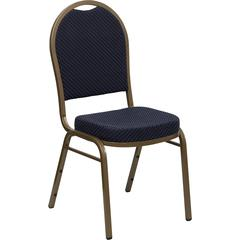HERCULES Series Dome Back Stacking Banquet Chair with Navy Patterned Fabric and 2.5'' Thick Seat - Gold Frame