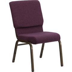 HERCULES Series 18.5''W Stacking Church Chair in Plum Fabric - Gold Vein Frame