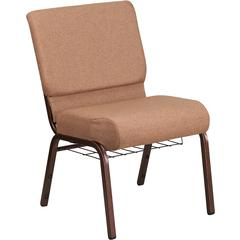 HERCULES Series 21'' Wide Caramel Fabric Church Chair with 4'' Thick Seat, Cup Book Rack - Copper Vein Frame
