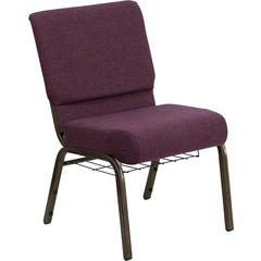 HERCULES Series 21'' Extra Wide Plum Fabric Church Chair with 4'' Thick Seat, Communion Cup Book Rack - Gold Vein Frame