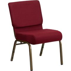HERCULES Series 21'' Extra Wide Burgundy Fabric Stacking Church Chair with 4'' Thick Seat - Gold Vein Frame