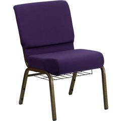 HERCULES Series 21'' Extra Wide Royal Purple Fabric Church Chair with 4'' Thick Seat, Communion Cup Book Rack - Gold Vein Frame