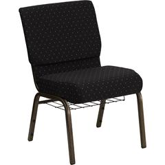 Flash Furniture HERCULES Series 21'' Extra Wide Black Dot Patterned Fabric Church Chair with 4'' Thick Seat, Communion Cup Book Rack - Gold Vein Frame