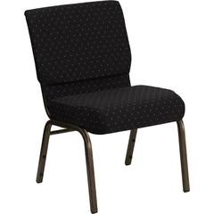 Flash Furniture HERCULES Series 21'' Extra Wide Black Dot Patterned Fabric Stacking Church Chair with 4'' Thick Seat - Gold Vein Frame