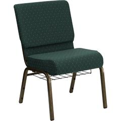 HERCULES Series 21''W Church Chair in Hunter Green Dot Patterned Fabric with Book Rack - Gold Vein Frame