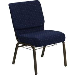 Flash Furniture HERCULES Series 21'' Extra Wide Navy Blue Dot Patterned Fabric Church Chair with 4'' Thick Seat, Communion Cup Book Rack - Gold Vein Frame