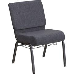 HERCULES Series 21''W Church Chair in Dark Gray Fabric with Book Rack - Silver Vein Frame