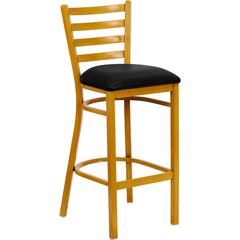 Flash Furniture HERCULES Series Natural Woodgrain Ladder Back Metal Restaurant Bar Stool with Black Vinyl Seat