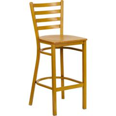 Flash Furniture HERCULES Series Natural Woodgrain Ladder Back Metal Restaurant Bar Stool with Natural Wood Seat
