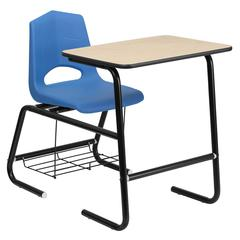 Flash Furniture HERCULES Series Black Frame Student Combo Desk with Blue Shell Chair, Natural Laminate Top and Book Rack