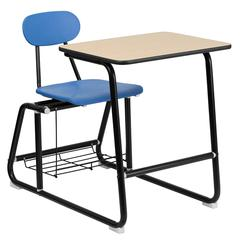 Flash Furniture HERCULES Series Black Frame Student Combo Desk with Blue Chair, Natural Laminate Top and Book Rack
