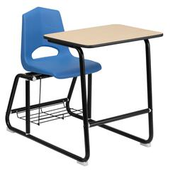 Flash Furniture HERCULES Series Black Frame Student Sled Based Combo Desk with Blue Shell Chair, Natural Laminate Top and Book Rack