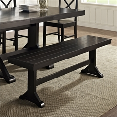 Antique Black Wood Bench