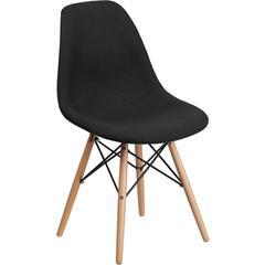 Elon Series Genoa Black Fabric Chair with Wood Base