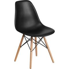 Elon Series Black Plastic Chair with Wood Base