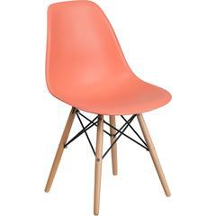 Elon Series Peach Plastic Chair with Wood Base