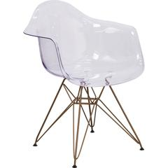 Allure Series Transparent Side Chair with Gold Frame
