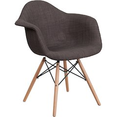 Alonza Series Siena Gray Fabric Chair with Wood Base