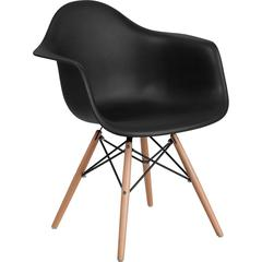Alonza Series Black Plastic Chair with Wood Base